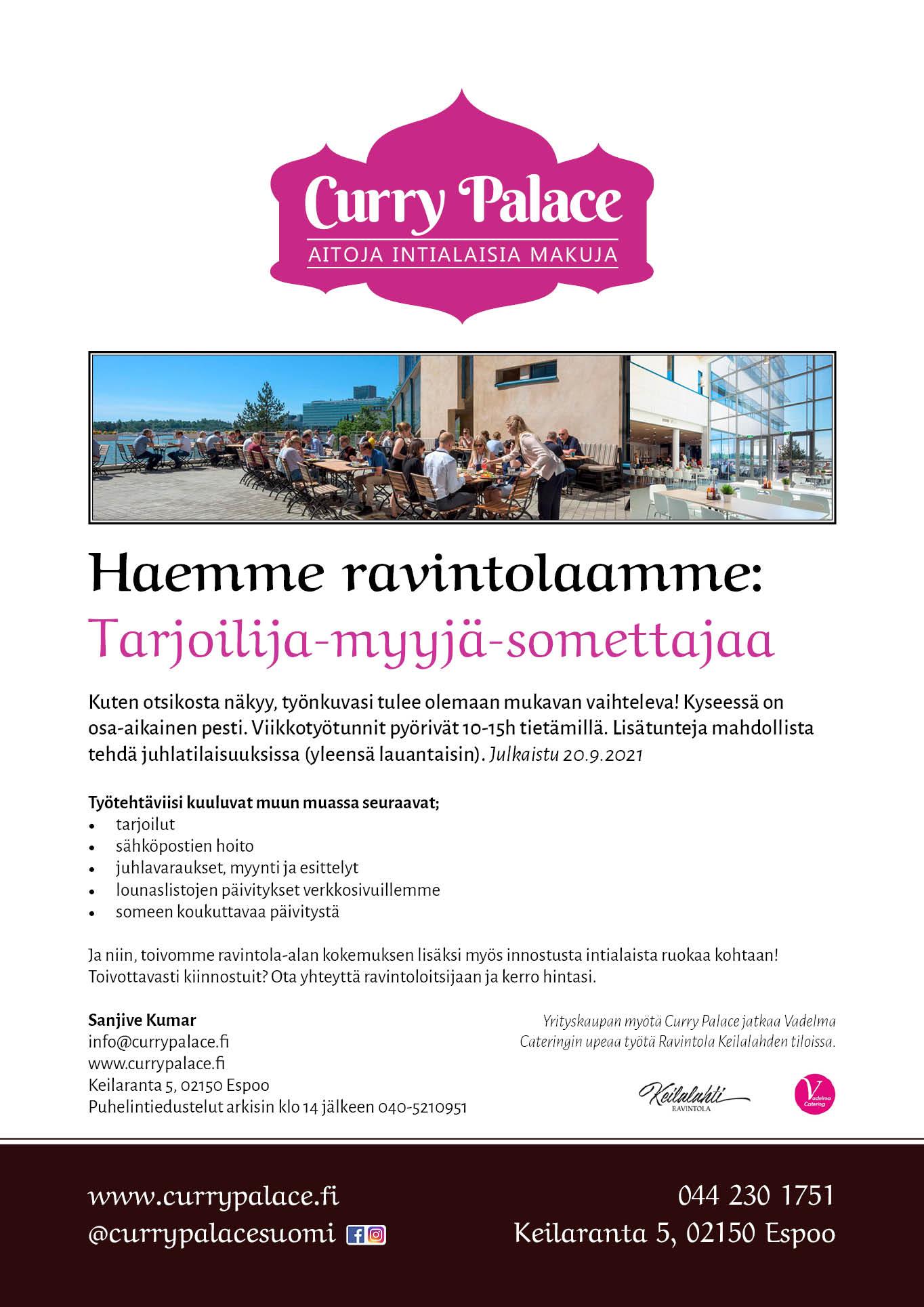 Curry Palace rekrytointi 9-2021